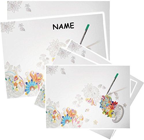 Papier - XL Schreibtischunterlage / Unterlage -  Blüten & Blumen  - incl. Name - 60 cm * 42 cm - Größe A2 - 30 Blatt - zum Anmalen & Ausmalen - Abreissblock..