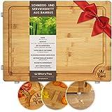 Glorytec Tabla de Cortar Cocina/trinchar Tabla de bambú – 45 cm x 30 cm x 2 cm Grande y Robusto Cocina – Tabla de Cortar de Madera