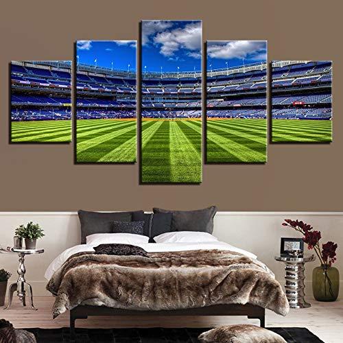 Immagini di Arte della Parete della Tela di Canapa modulari Decorazione Domestica 5 Parti Corrispondenza di Sport di Calcio Campo Salone Poster Moderno