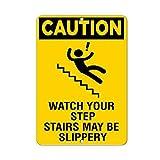Vorsicht Watch Your Schritt Treppen kann rutschigen Hazard Zitat Aluminium Metall Schild Geschenk für Herren Safety Sign Yard