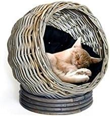 Rundes Katzenbett aus Rattan mit Kissen - Höhe 45cm / Durchmesser 45cm - Hochwertige Verarbeitung