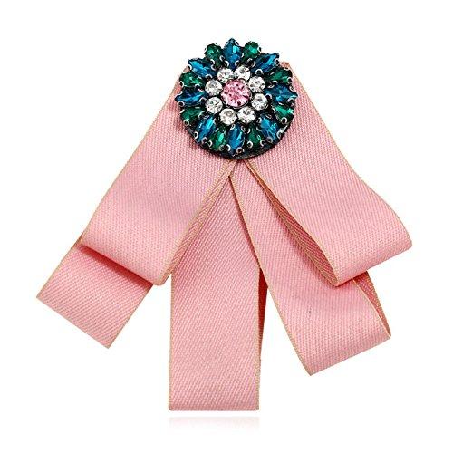 Qinlee Kristall Broschen Kreative Blumen Schleife Stil Brosche Anstecknadeln Schals/Kragen Pin Mode Geschenk Kleidung Dekoration Damen Mädchen für Hochzeiten, Bankette, Party Schmuck Zubehör (Pink)