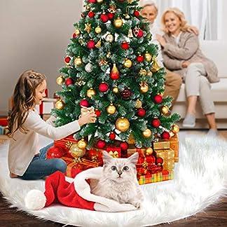 FISHOAKY Falda del árbol de Navidad, 76cm/122cm Snowy White Faux Fur Cubierta de Base Arbol Navidad para Navidad Fiesta de año Vacaciones Decoración de Interior al Aire Libre