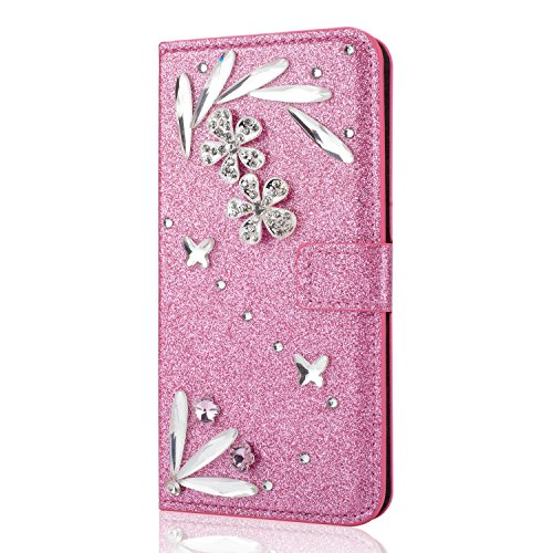 Shinyzone iPhone 6 Plus iPhone 6S Plus Bling 3D Schmetterling Diamant Brieftasche Leder Hülle,[Kredit Kartenhalter] [Standfunktion] Glitzer Kristall Strass Feder Muster PU Stoßfest Schutzhülle Magnetisch Flip Hülle für iPhone 6 Plus/6S Plus 5.5 Zoll-Rosa (Iphone 6-sterne-bling Fall)