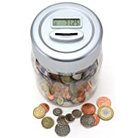 Gift House Int Digital UK Coin Counting Money Jar