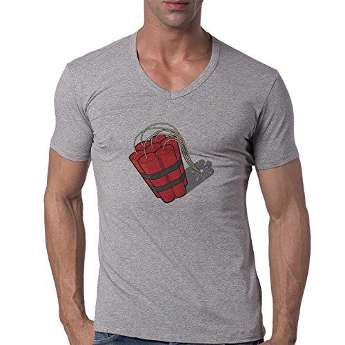Bomb Atom Boom Fire Red Herren V-Neck T-Shirt Grau
