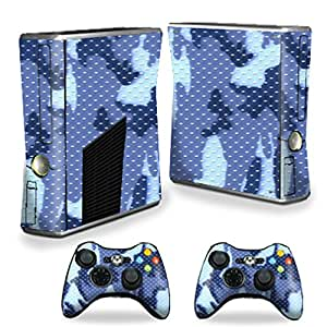 Protective Vinyl Skin Decal Cover for Microsoft Xbox 360 S Slim + 2 Controller Skins Sticker Skins Blue Camo