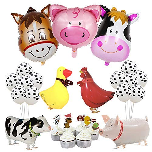 KREATWOW Bauernhof Tier Party Dekorationen Barnyard Folienballons Cupcake Toppers für Geburtstag Baby Shower Farmhouse Party Supplies (Geburtstag Supplies Bauernhof Party)