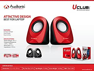 Audionic U Club I Black Portable Compact Laptop Speakers USB Powered
