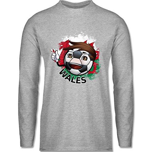 Shirtracer Fußball - Fußballjunge Wales - Herren Langarmshirt Grau Meliert