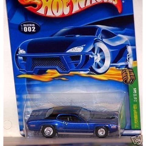 Mattel Hot Wheels 2002 Treasure Hunt 1:64 Scale Blue 1971 Plymouth GTX Cuda 2/12 Die Cast Car #002 by Mattel - Plymouth Cuda