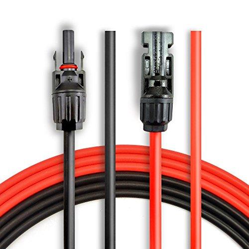 BougeRV 1 Paire 9m 6,0 mm / 30Ft 10AWG Câble d'Extension Solaire avec MC4 Connecteur Femelle et Mâle Adaptateur Rallonge Connecteur de Panneau Solaire pour Photovoltaïque Panneau Solaire