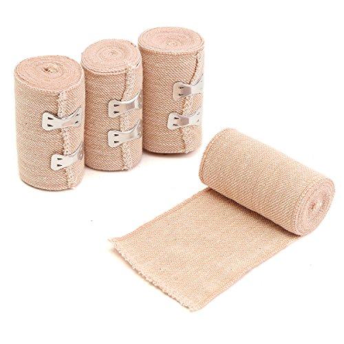 ChaRLes 4 Rolls 15Ft Crepe Bandage Hook Closure Rubber Elastic Bandage 5 Yds 4.5M