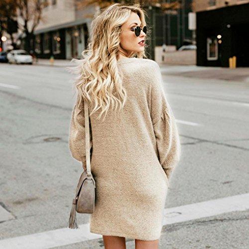 Coloré Femmes Tops Haut Hiver (TM) Blouse Pull-Over Sweater Femme T-Shirt Tunique Femme Longue Manche Longue Grande Taille Polyester Casual Blouse Top Tee Shirt Longue Beige