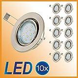 LED Einbaustrahler LED Spot 10 er Set inkl. 10 x 3W GU10 schwenkbar LED Einbauleuchte Deckenspot ...