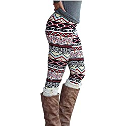 MORCHAN ❤ Casual Femmes Lady Skinny imprimé géométrique Stretch Pantalon de Jegging Slim Leggings Jeans Combinaisons Pantalon Court Collants Knickerbockers(2XL,Multicolore)