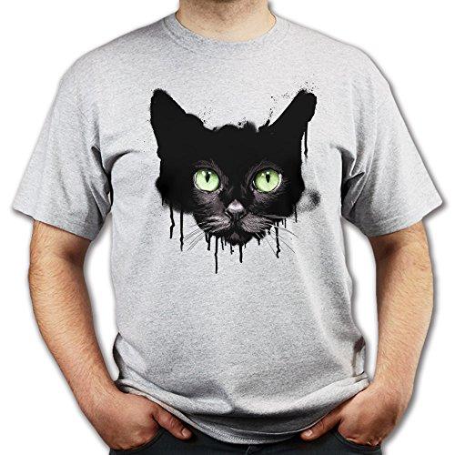 Kitty Cat Eyes Katze Mode Graffiti T-shirt Grau