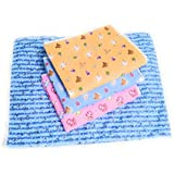 padam Kids Happy Babies One Sided Cotton Waterproof Plastic Sheet and Changing Mat (Multicolour, 0-6 Months, L-24Inchs, B-18 Inches) - Pack of 4 Pieces