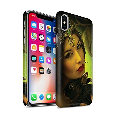 Offiziell Elena Dudina Hülle / Matte Snap-On Case für Apple iPhone X/10 / Weiße Wölfe Muster / Die Tiere Kollektion Waldpaar/Hase