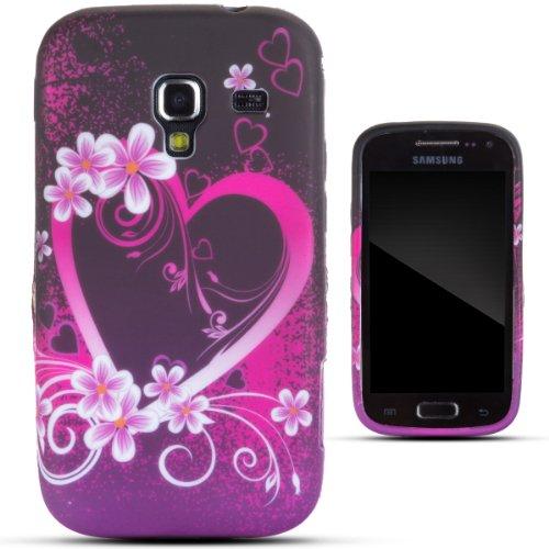 Zooky rosa TPU ROMANTICO CUORE COVER / CASE / CUSTODIA per Samsung Galaxy Ace 2 (I8160)