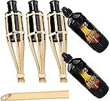 Moritz Gartenfackel Garten Bambusfackel Bambusfackeln Gartenfackeln 90cm Öllampen Bambus Deko Fackel incl. 2 Liter Lampenöl (3 Fackeln und 2 X Lampenöl)