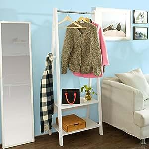 SoBuy® FRG59-W Valet de chambre, Garde-robe, Penderie à vêtement, Porte-manteau avec deux étagères -Blanc
