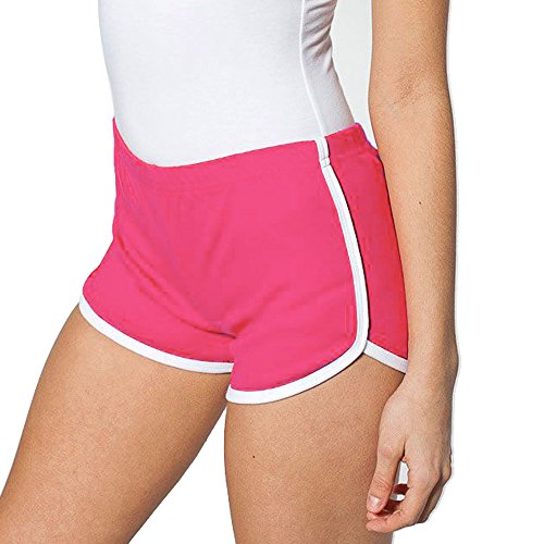 Mangotree Damen Sport Shorts Retro Shorts Aktiv Yoga Shorts Hose mit Farbig Abgesetzen Rändern (EU S=Tag XL (Taille: 62-66cm), Rosa) (Shorts Active Damen)