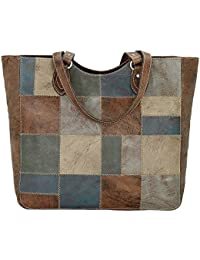 American West Women's Distressed Groovy Soul Large Zip Top Tote Bag Blue One Size
