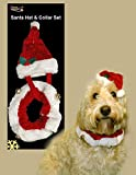 Pet Santa Hat with Collar+Bell - Great novelty outfit for dogs,puppy,cats - 2pc Set
