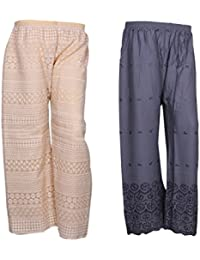 IndiStar Women Combo Pack (Pack Of 1 Georgette Pallazo With Astar And 1 Rayon Chikan Work Pallazo) - B078M5BZ7J