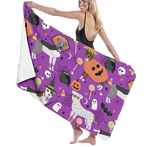 Kaixin J Pitbull Halloween Costume Dog Cute Dogs In Design Candy Corn Funny Pet Purple Microfiber Pool Beach Towel Quick Dry Beach Towel for Adult 32 X 52 Inch (Devil Dog Pet Costume)