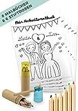 von_rafenstein Hochzeitsmalbuch und Buntstifte mit Spitzer zur Beschäftigung der Kinder auf der Hochzeit. Malbuch Hochzeit mit 28 Seiten als Gastgeschenk, Mitgebsel Kinder-malbuch Deko Gastgeschenke
