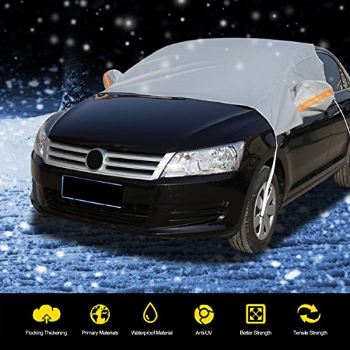 AUDEW Windsheild Cover Snow Cover Sun Shade Protector Protects Windshield, Wipers, and Mirrors Weatherproof, Anti-fouling, Sun-proof Standard ( Fit Family Car)