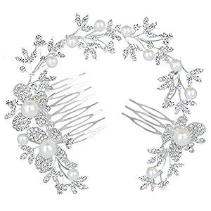 Clearine Damen Böhmisch Ivory-Farbe Künstliche Perlen Schmetterling Kristall Braut Verformbar Haarkamm Haarschmuck