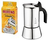 """Bialetti Venus Espressokocher 6 Tassen, Edelstahl, Induktion, inkl. 250gr. Italienischer Espresso """"Cafe Moreno"""""""