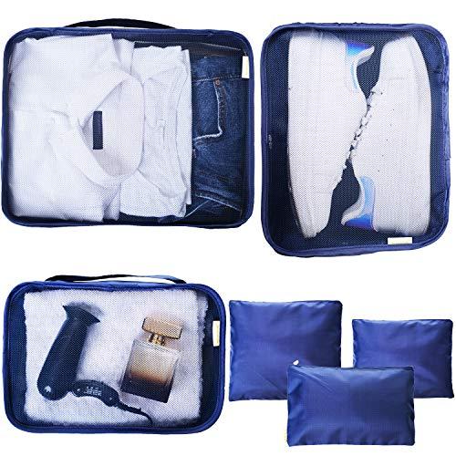 Organizer Valigie Borsone da Viaggio Divisori Valigia Porta Scarpe Packing Cube Travel Bag Borsa Sacchetti Impermeabili Traspiranti Lavabili Atossici Set di 6 (Blu) Mikipè