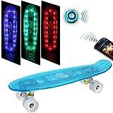Weskate 55cm Mini-Cruiser Skateboard mit Bluetooth-Konnektivität, mit blinkenden LED-rollen mit LED Leuchtrollen, Sehr gut geeignet für Kinder und Einsteiger
