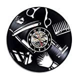 Yanshu Barbershop Horloge Murale Moderne Conception Décoration Coiffeur Salon Vinyle Record Horloge Montre Home Decor 12 Pouces