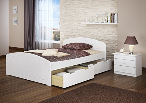 Erst-Holz Bianco Matrimoniale 160x200 in Pino Eco con doghe rigide e 3 utili cassettoni 60.50-16W