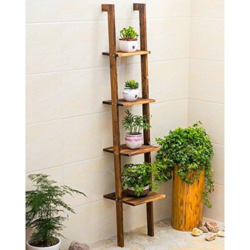 Porte-fleurs Étagère échelle en bambou 4 étages H : 160 cm salon salle de bain Rangement séjour Cuisine décoration bureau, nature ( Couleur : 2 )