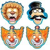 1 Maske Zirkus, Pappe, mit Gummizug, Clown, Zirkusdirektor oder Löwe