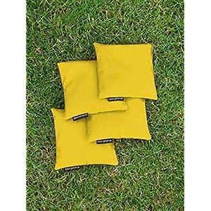 4 Cornhole Säckchen gelb (Granulat oder Mais), 15 x 15 cm, 400g (oder 250g) – Top Qualität made in Germany, handgemachte…