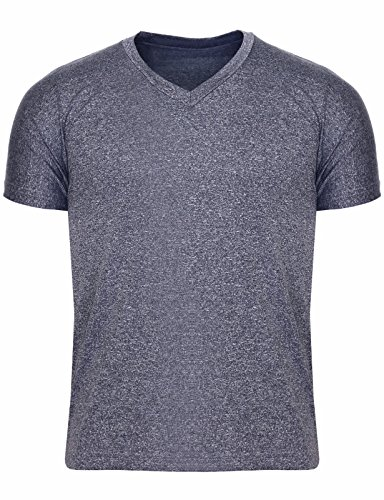 BCPOLO Herren Power Stretch Short Sleeve Slim Fit T-Shirts V-Ausschnitt-Holzkohle