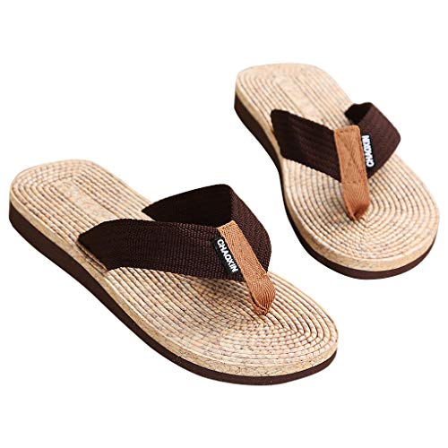 Shenglv Flip Flops Platform Sandali con Tacco a Spillo Pantofole Toe Casual Summer Tanga Beach Shoes per Uomo e Ragazzo (42 EU, Marrone)