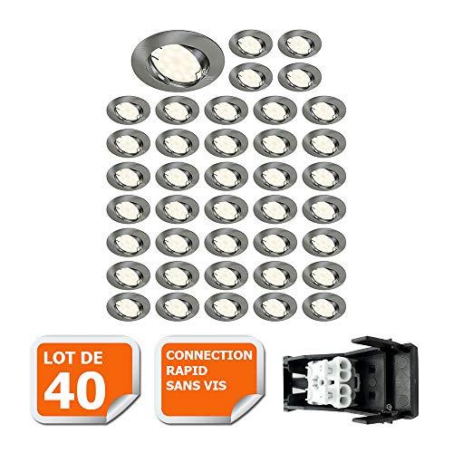 LOT DE 40 SPOT LED ENCASTRABLE COMPLETE ORIENTABLE ALU BROSSE AVEC AMPOULE GU10 230V 5W, BLANC NEUTRE