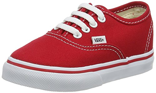Vans Authentic Canvas, Unisex-Childs Low-Top Trainers, Red, 5 UK