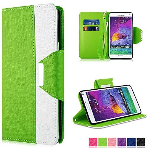 Preisvergleich Produktbild Note 4 Hülle - Vakoo Bookstyle Schutzhülle Flip Case Premium PU-Leder Tasche Hülle für Samsung Galaxy Note 4 (Grün Weiß)