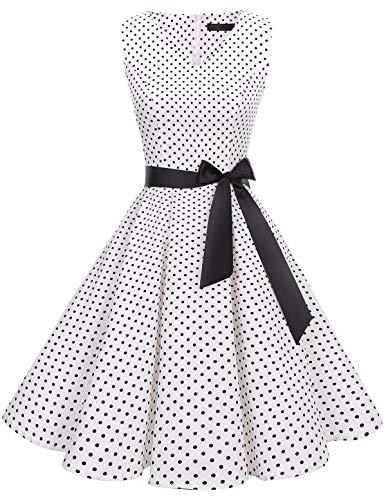 bridesmay 1950er V-Ausschnitt Kleid Vintage Cocktailkleid Rockabilly Retro Schwingen Kleid Faltenrock White Small Black Dot L - Winter Dot Kleid