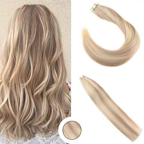 Black Hair Blonde Highlights (Ugeat PU Extensions Echthaar Tressen 50cm 20pcs Remy Brazilian Hair Extensions 50gramm Tape in/on Echthaar Verlangerung Piano Color Blonde Highlights #P18/613)