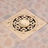 Kupfer-Deodorant-Primärfarbe-Boden-Abfluss-Badezimmer-Multifunktionskanal-Filter-Anti-Blockierung